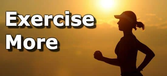 Silouette of a person running and the suggestion to exercise more