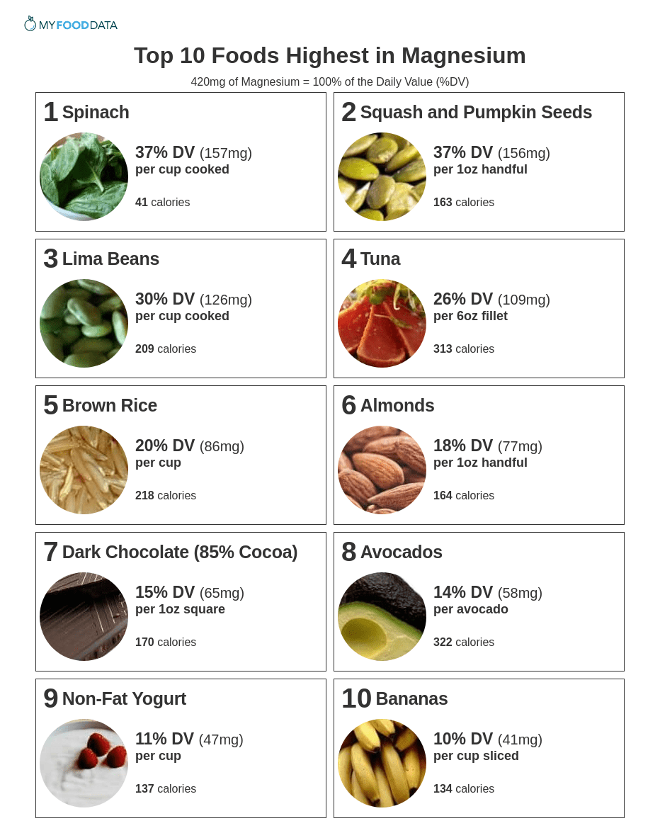 graphic about List of High Potassium Foods Printable known as Supreme 10 Meals Greatest within Magnesium