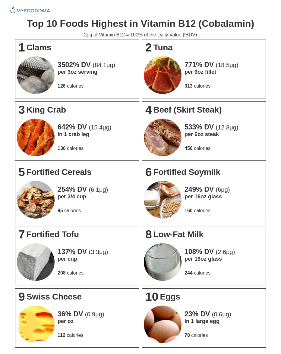 A printable list of the top 10 vitamin b12 foods.