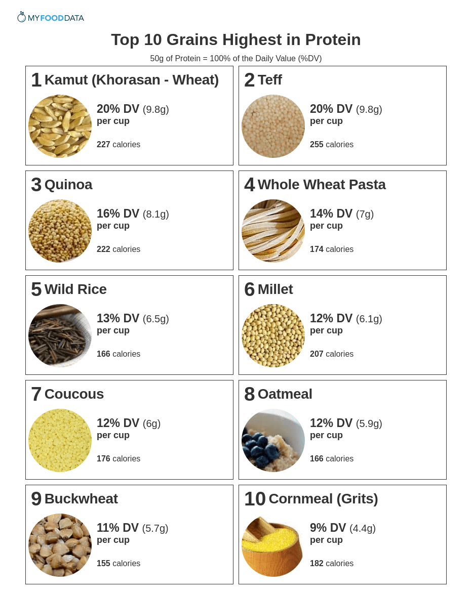 Printable list of grains high in protein.