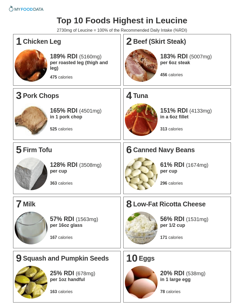Printable list of foods high in leucine.
