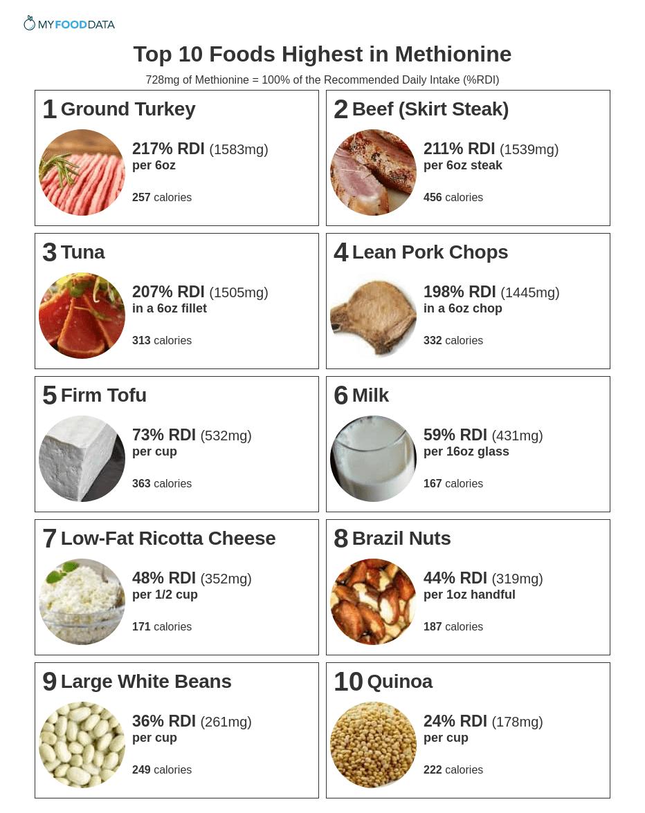 Printable list of foods high in methionine.