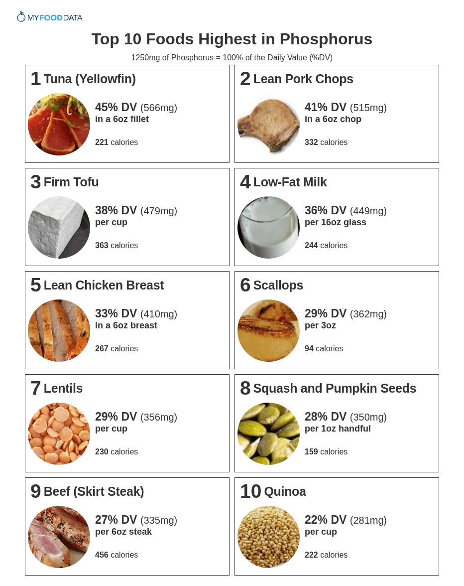 Printable list of foods high in phosphorus.