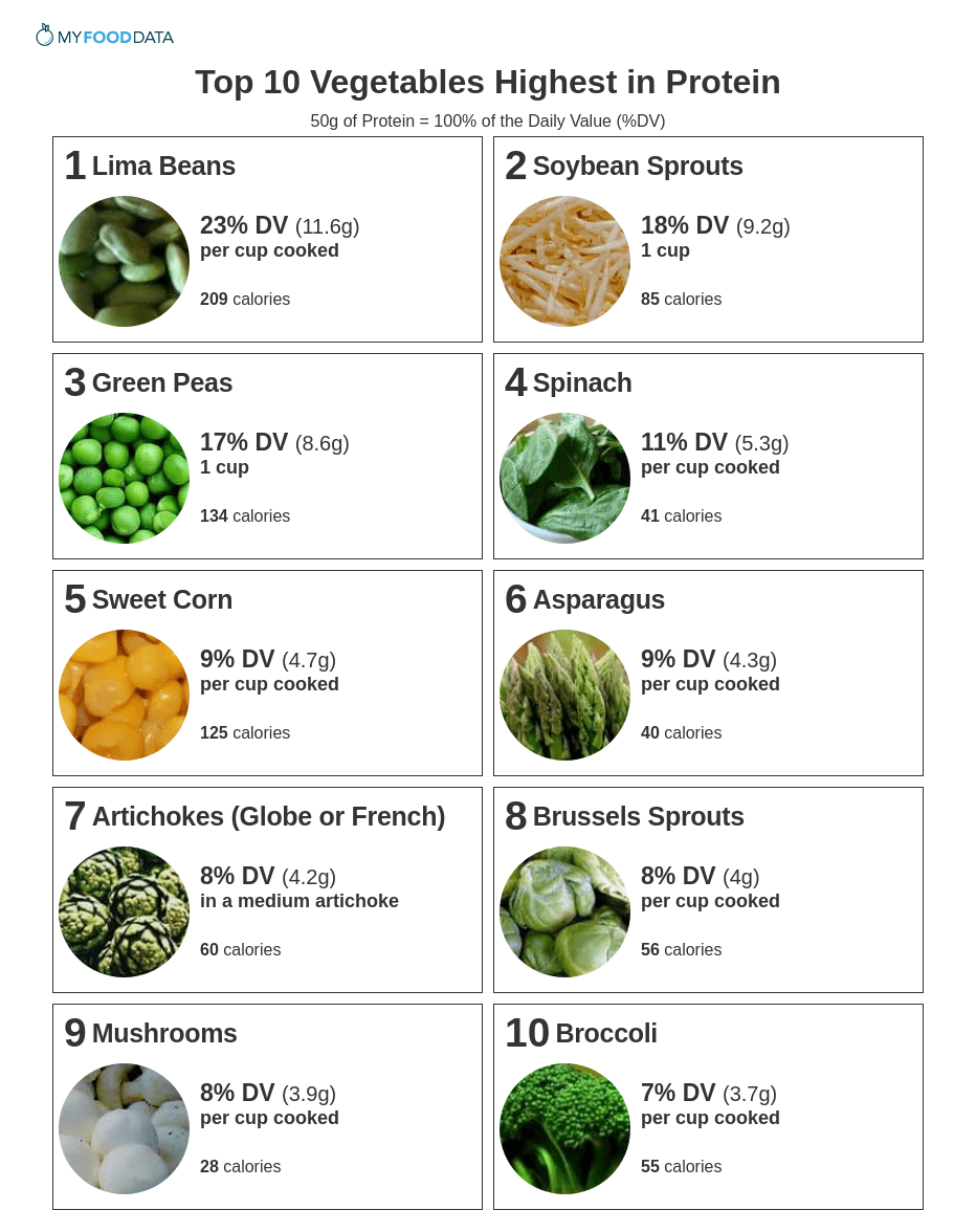 Printable list of vegetables high in protein.